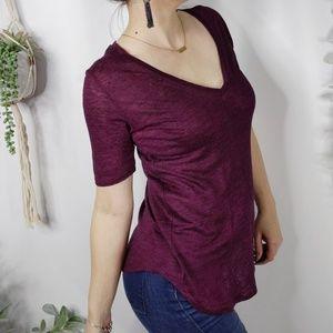 SANDRO Taton Linen v-neck short sleeve top 0331